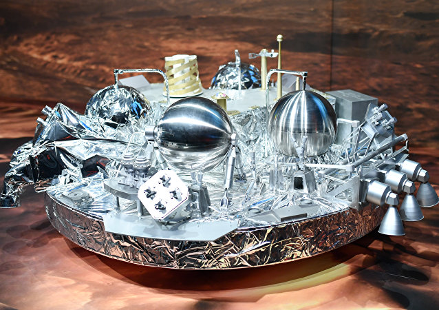 A model of Schiaparelli· the mars landing device , is on display at the European Space Agency, ESA, in Darmstadt, Germany