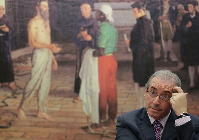 Brazil's former President of the Chamber of Deputies Eduardo Cunha speaks during the presentation of his defense in the Chamber of Deputies, in Brasilia, Brazil, Monday, Sept. 12, 2016.