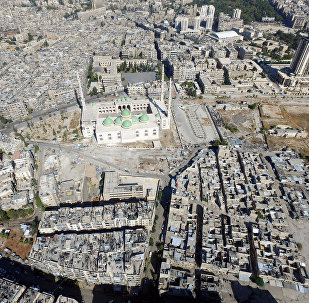 A general view taken with a drone shows a mosque where forces loyal to Syria's President Bashar al-Assad are stationed in Aleppo's government-controlled area of al-Masharqa, Syria October 20, 2016.