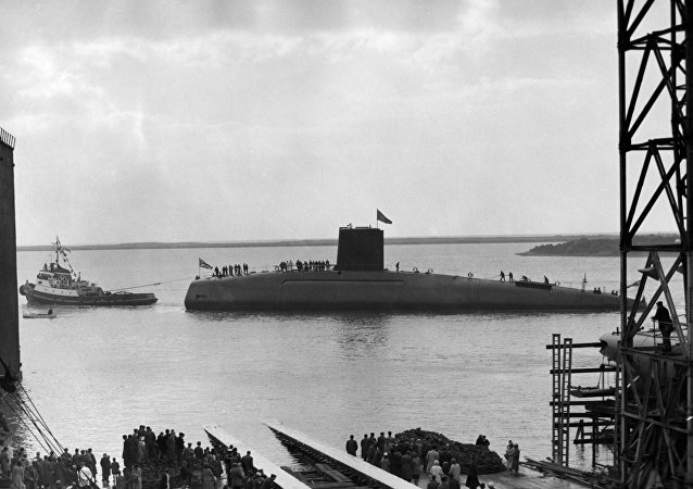 Dreadnought, 3,500 tons, Britain's first nuclear powered submarine, is shown in the water after her launching in the Vickers-Armstrongs dockyard at Barrow-in-Furness, Lancashire on October 21, 1960.