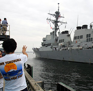 U.S. Navy guided-missile destroyer USS McCampbell (DDG85) arrives at Yokosuka naval base, south of Tokyo, file. The USS McCampbell is participating in large-scale US-South Korean-Japanese drills taking place off Jeju Island between October 22-23