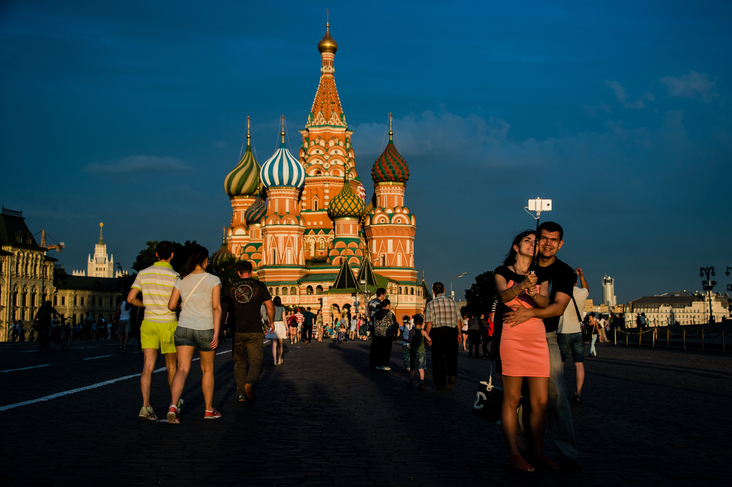 City residents and guests on Moscow's Red Square. Background: Saint Basil's Cathedral