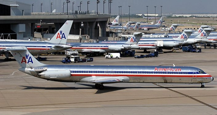 Numerous American Airlines aircraft