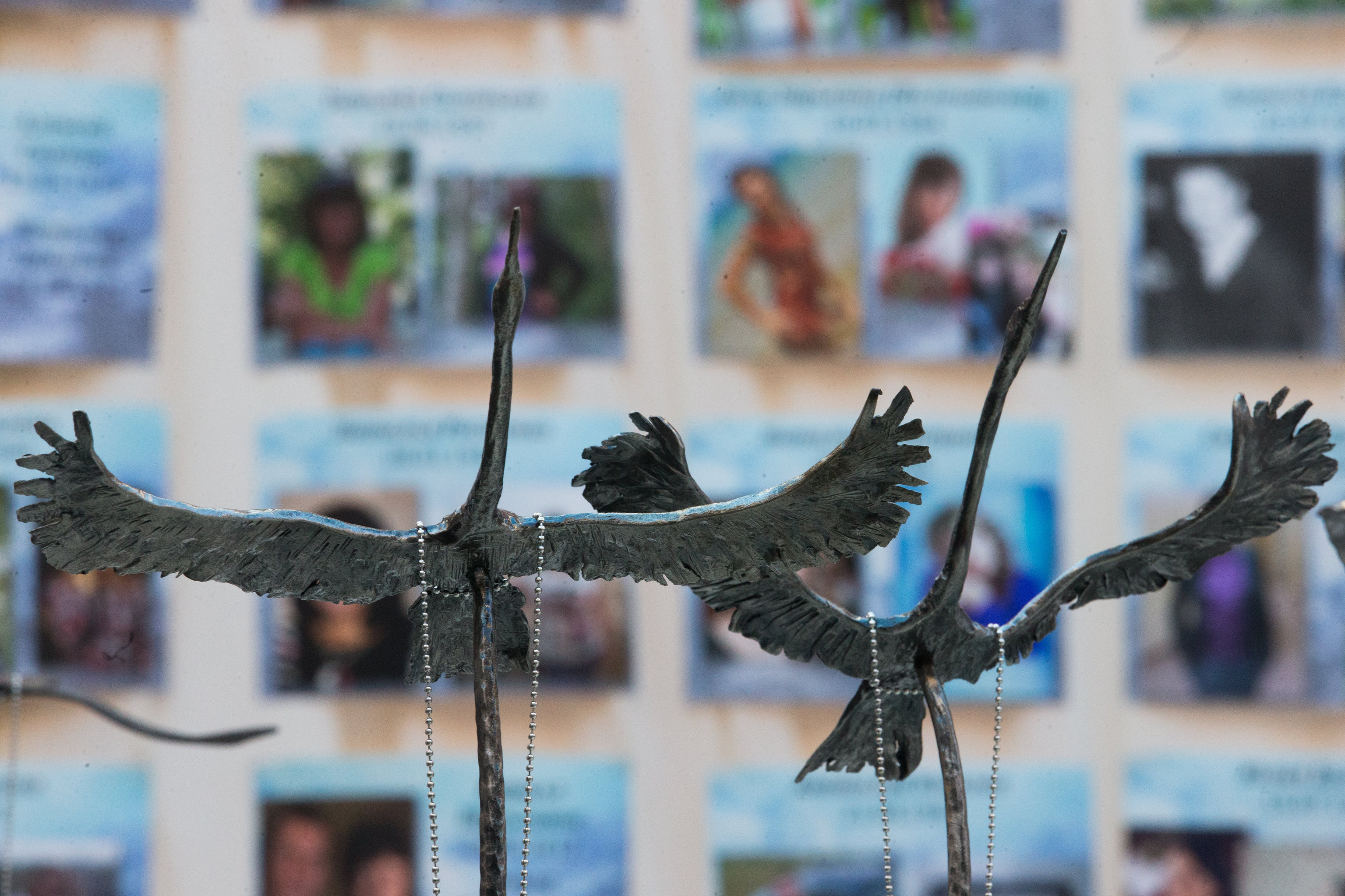 Figurines of cranes at the vigil in the Peter and Paul Fortress in memory of the Sinai aircrash victims