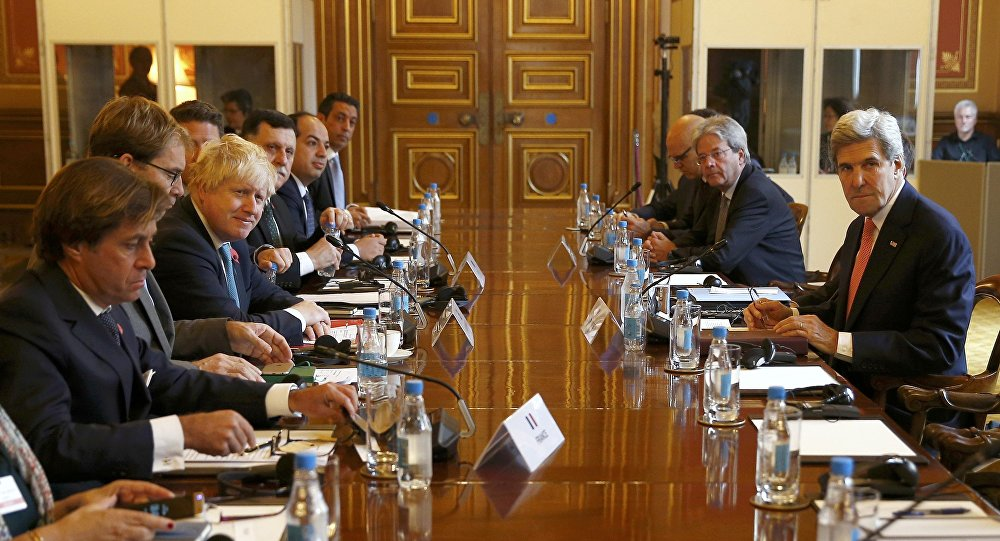 U.S. Secretary of State John Kerry (R) attends the Libyan Ministerial meeting with Britain's Foreign Secretary Boris Johnson (3rd L), French Director of Political Affairs, Nicolas de Riviere (L) and Libya's Prime Minister and Deputy Prime minister, at the Foreign and Commonwealth Office in London, Britain October 31, 2016