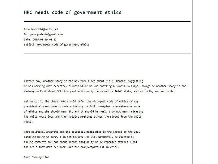 One of the 'Podesta Emails' released by WikiLeaks