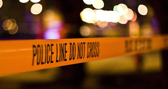 Police tape at the crime scene.