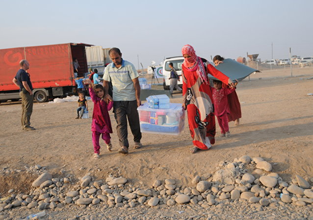 In this photo residents of Mosul and the nearby villages are seen being accomodated in the Hazir refugee camp