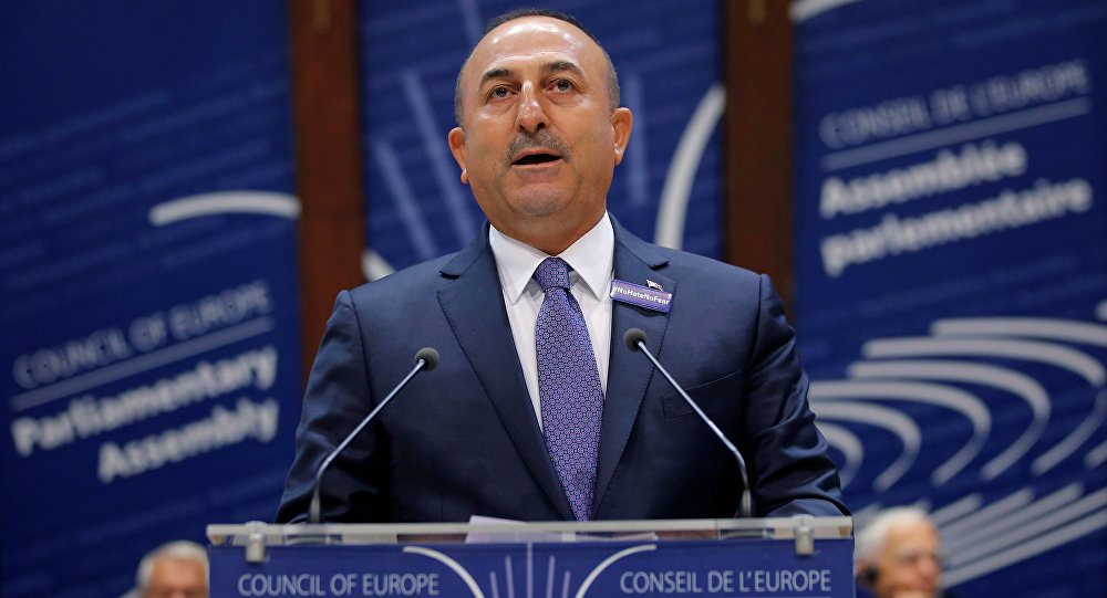 Turkey's Foreign Minister Mevlut Cavusoglu addresses the Parliamentary Assembly of the Council of Europe in Strasbourg, France, October 12, 2016.