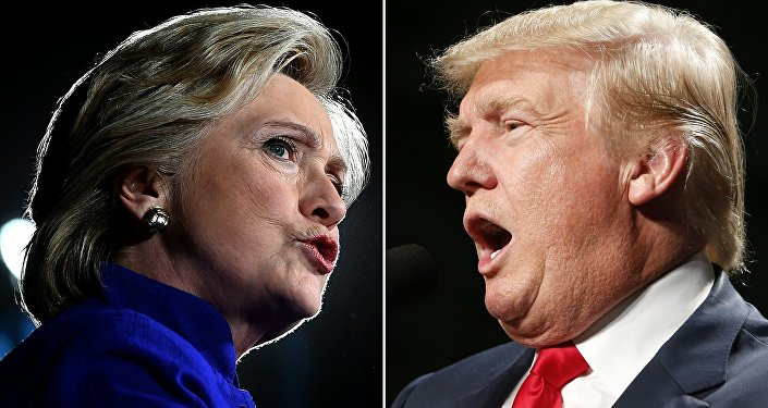 US Democratic presidential nominee Hillary Clinton in Tempe, Arizona, on November 2, 2016 and US Republican Presidential nominee Donald Trump in Warren, Michigan on October 31, 2016.