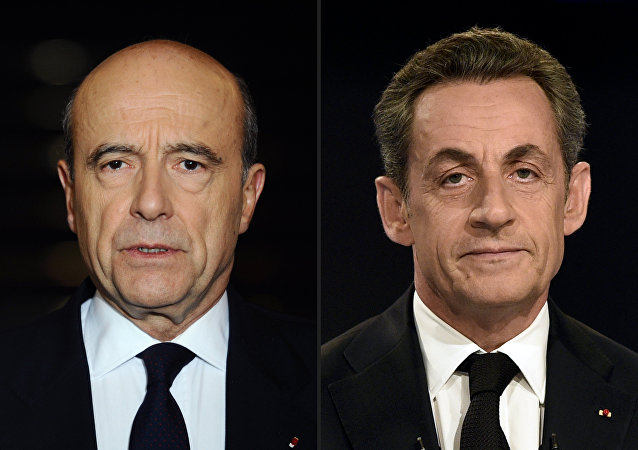 A combination of photographs created in Paris on September 21, 2016 shows candidates for the right-wing Les Republicains (LR) party primaries ahead of the 2017 presidential election, mayor of Bordeaux Alain Juppe (L) pictured on January 20, 2012 in Paris and former French President Nicolas Sarkozy pictured on November 30, 2014 in Boulogne-Billancourt