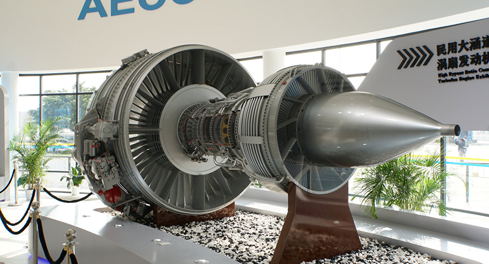 A mock-up of a Chinese-designed high-bypass turbofan engine for ChinaÕs civil jetliner programme is displayed inside the pavilion of a new state-owned engine-making giant, Aero Engine Corporation of China (AECC), at Airshow China in Zhuhai, Guangdong province, on November 3, 2016.