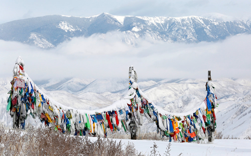 A view shows a sacred site of Tuvan Buddhists and shamanists on the roadside of the M54 federal highway near the town of Kyzyl, the administrative center of the Republic of Tuva (Tyva Region) in Southern Siberia on November 4, 2016. The region is inhabited by Tuvans, historically cattle-herding nomads, who nowadays practice two main confessions: Buddhism and Shamanism.