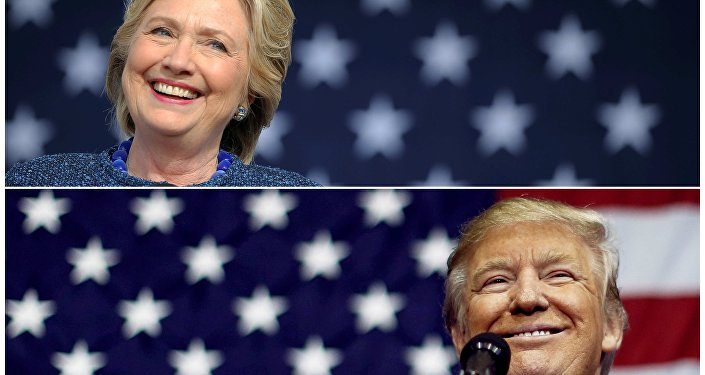 U.S. presidential nominees Hillary Clinton (top) and Donald Trump speak at campaign rallies in Cedar Rapids, Iowa, U.S. October 28, 2016 and Delaware, Ohio October 20, 2016 in a combination of file photos.