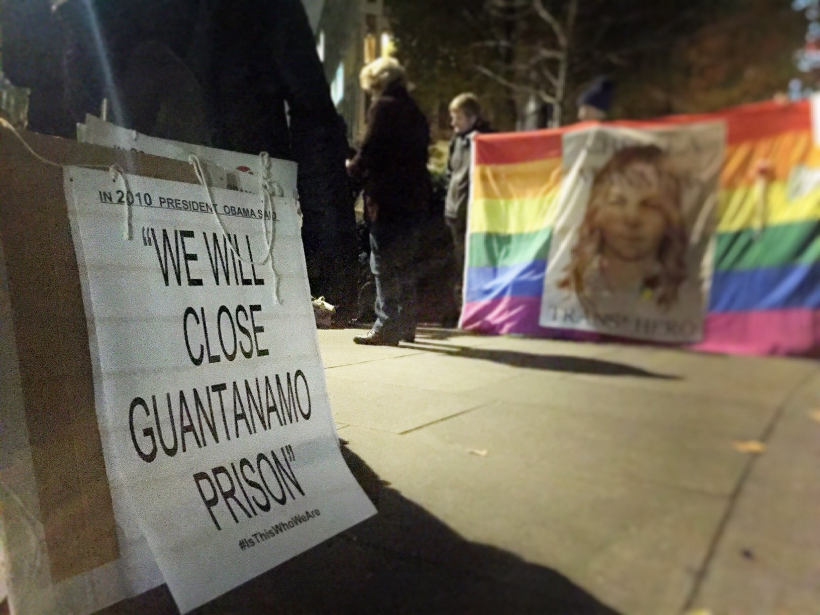 Demonstration held at US Embassy London on night of Elections Vote