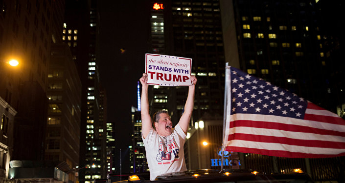 A supporter of U.S. Republican presidential candidate Donald Trump cheers near the intersection of West 54th Street and Fifth Avenue in New York, U.S. November 9, 2016