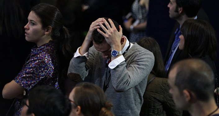 Supporters of the Democratic candidate Hillary Clinton at the Jacob K. Javits Convention Center in New York follow the vote counting in the US presidential election