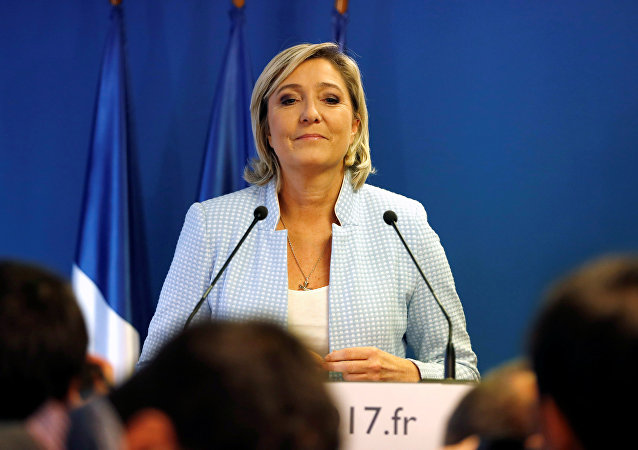 Marine Le Pen, French National Front (FN) political party leader, delivers a statement on U.S. election results at the party headquarters in Nanterre, France, November 9, 2016