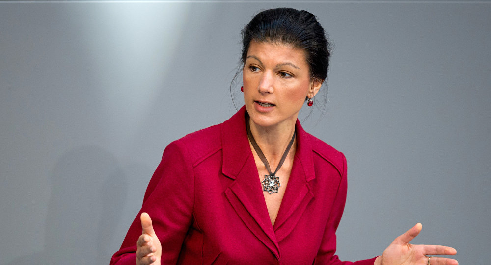 Sahra Wagenknecht of the Left party (Die Linke) delivers her speech at the German parliament on the next EU summit at the German Bundestag in Berlin, on March 19, 2015