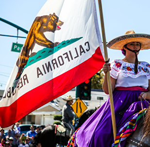 A woman carries a California flag during the 4th of July Parade in Alameda, California in 2016