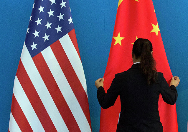China US flags