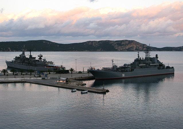The Russian Navy's large landing ship Caesar Kunikov in the Grek port city of Pylos