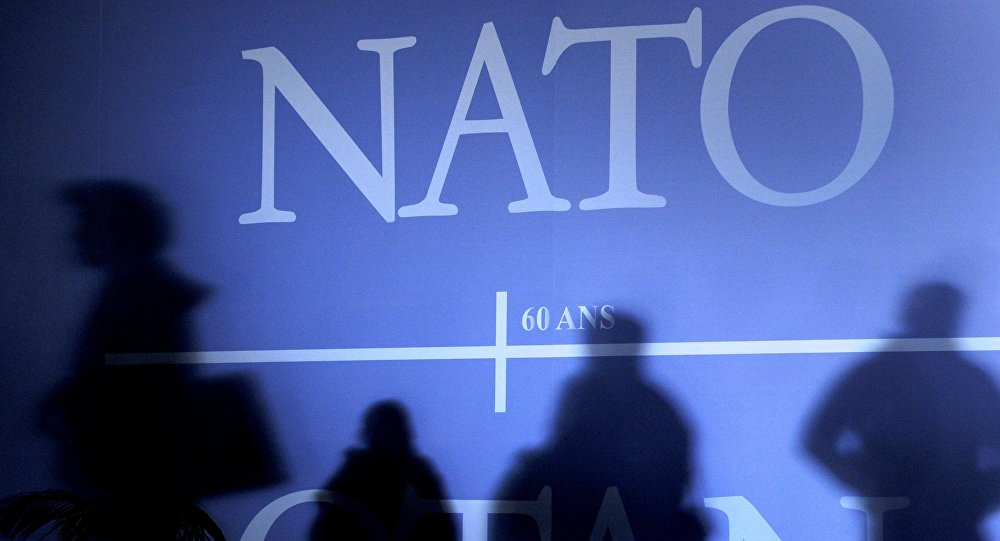 Shadows cast on a wall decorated with the NATO logo and flags of NATO countries