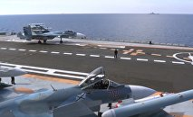 Flight deck of Admiral Kuznetsov aircraft carrier