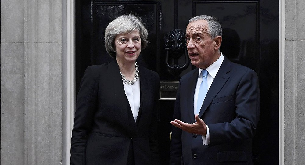 Britain's Prime Minister Theresa May greets Portugal's President Marcelo Rebelo de Sousa at Downing Street in London, Britain November 16, 2016.