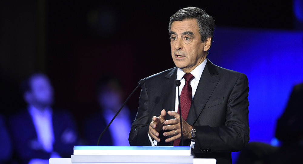 Former French prime minister and candidate for the right-wing Les Republicains (LR) party primaries ahead of the 2017 presidential election, Francois Fillon speaks during the second debate of the right-wing Les Republicains (LR) party primaries on November 3, 2016 at the salle Wagram venue in Paris