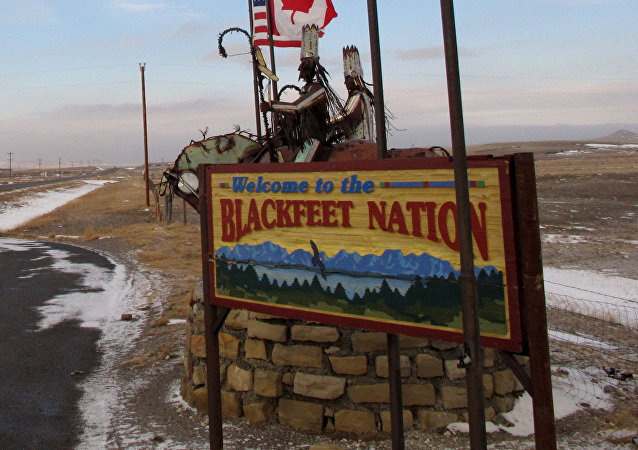This Dec. 12,2012 photo shows a sign welcoming visitors to the Blackfeet Indian reservation on Dec. 12, 2012