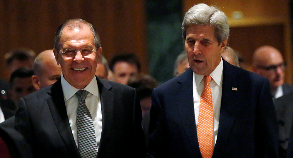 U.S. Secretary of State John Kerry (R) and Russian Foreign Minister Sergei Lavrov walk into their meeting room in Geneva, Switzerland, to discuss the crisis in Syria, September 9, 2016