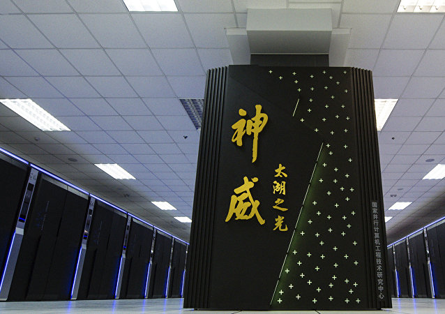 In this photo released by the Xinhua News Agency and taken on June 16, 2016, the Sunway TaihuLight, a new Chinese supercomputer, is seen in Wuxi, eastern China's Jiangsu Province