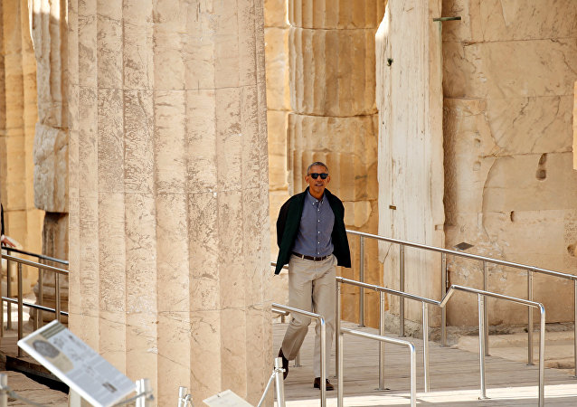 U.S. President Barack Obama tours the Acropolis in Athens, Greece November 16, 2016