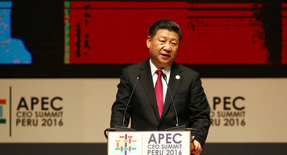 China's President Xi Jinping addresses audience during a meeting of the APEC (Asia-Pacific Economic Cooperation) Ceo Summit in Lima, Peru, November 19, 2016