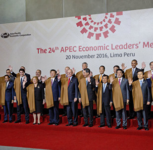 Leaders of Asia Pacific Economic Cooperation, APEC during the group photo in Lima, Peru