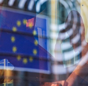 Reflection of the EU flag in a window of a building in Brussels. (File)