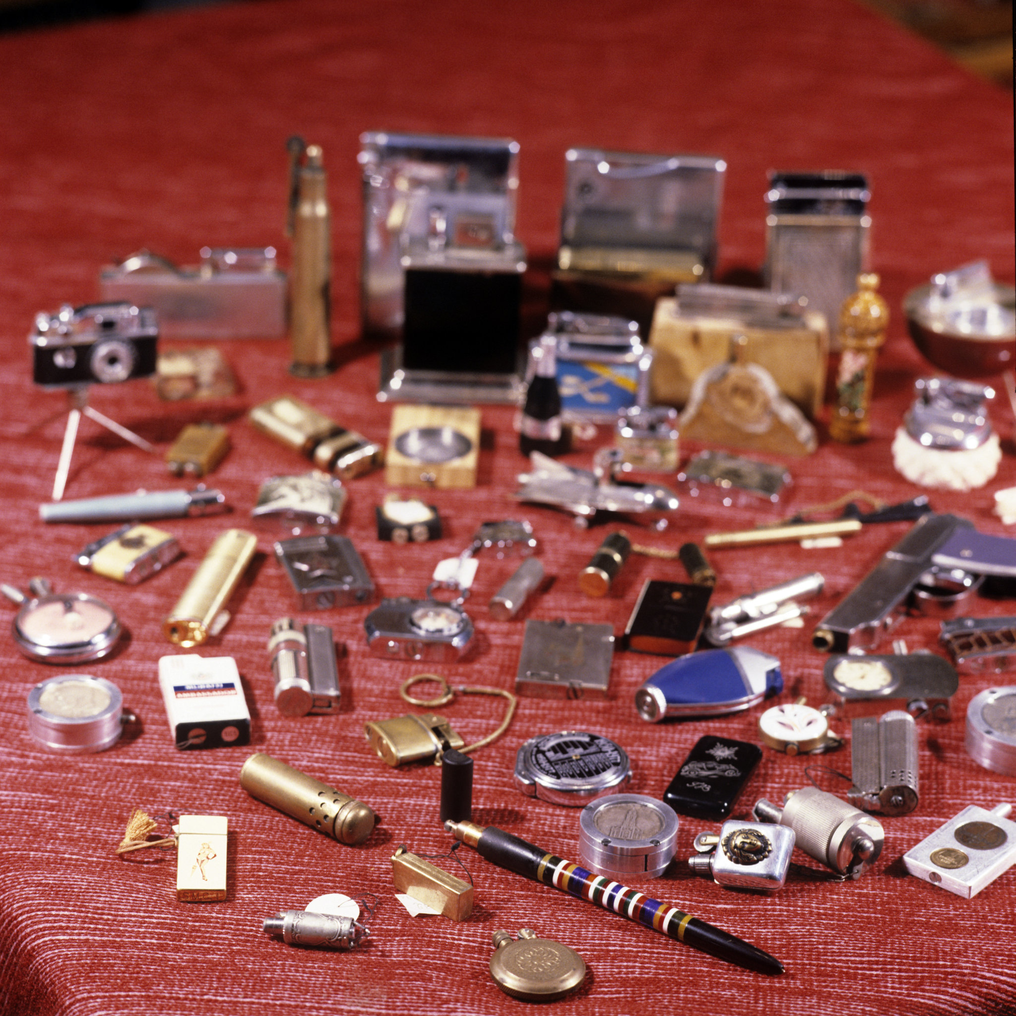 The collection of lighters belonging to Moscow resident Naum Lerman. (File)
