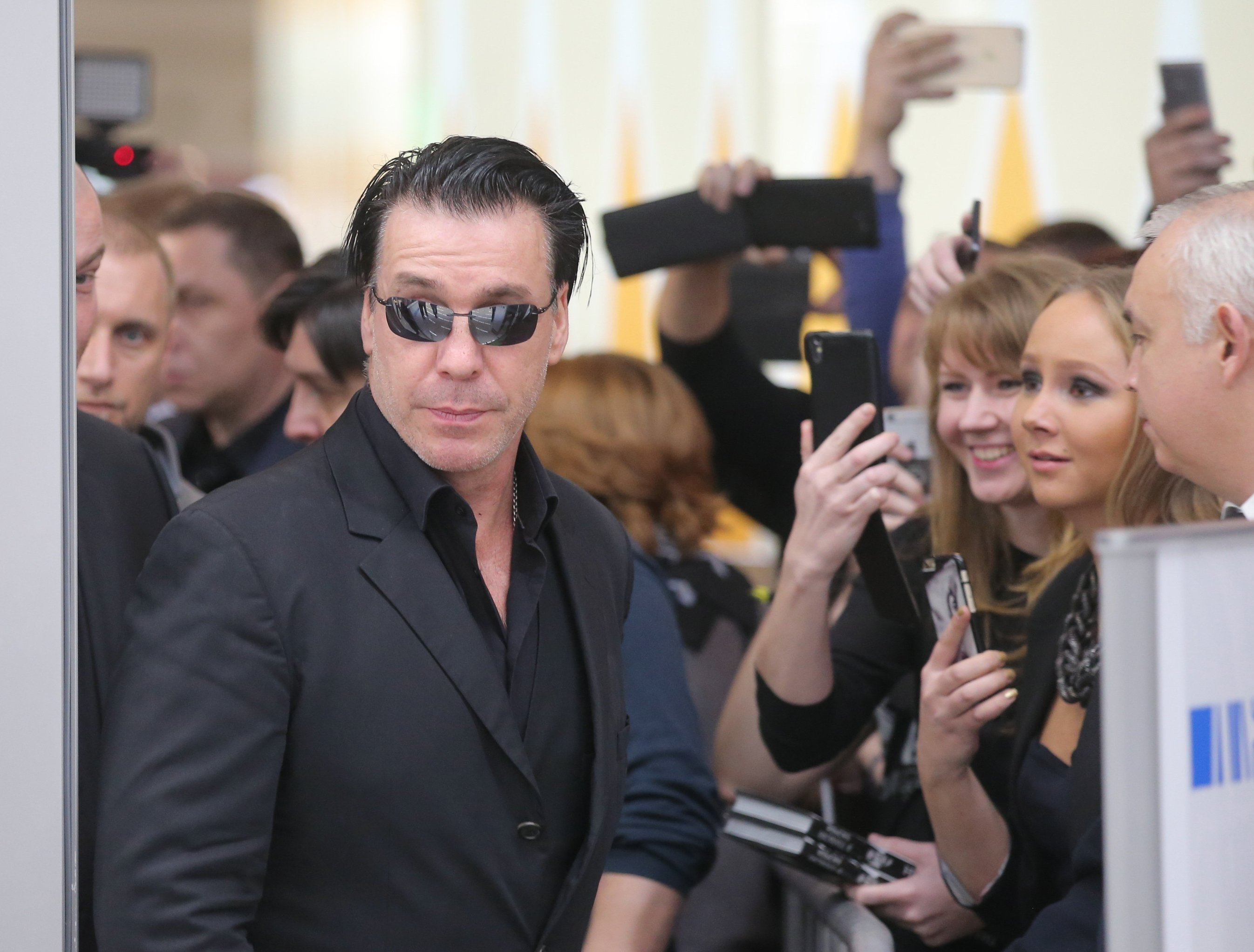 Till Lindemann, lead vocalist and frontman of the Rammstein band, at the presentation of book On Quiet Nights at the Columbus retail center, Moscow