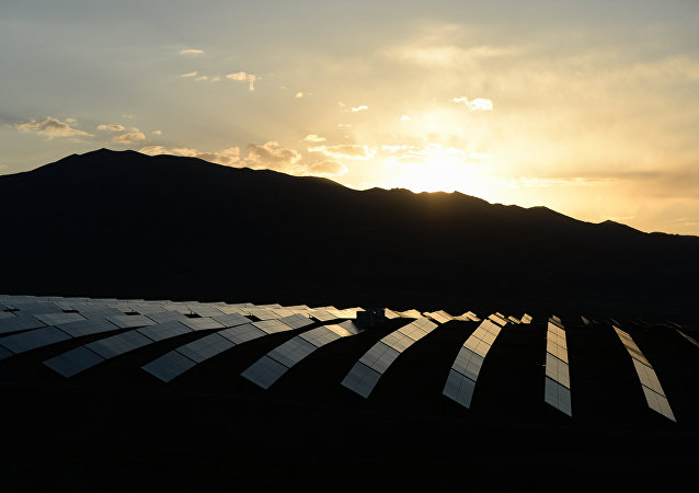 The Kosh-Agach solar power station in the Altai Republic at dawn.