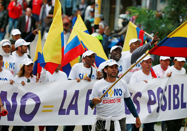 Peace activists make their way into downtown Bogota after starting a trek from Cali in a bid to call for a swift resolution to stalled peace agreement with FARC in Bogota, Colombia, October 24, 2016.