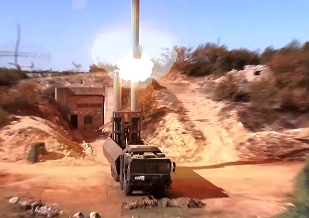 Oniks cruise missiles being launched from the Bastion mobile coastal defence missile system at terrorist targets in Syria. Still from a video provided by the Rusian Defense Ministry.
