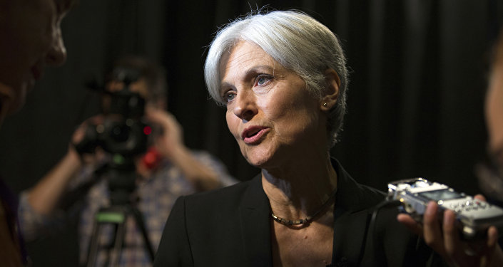 Green party presidential candidate Jill Stein answers questions from members of the media during a campaign stop at Humanist Hall in Oakland, Calif. on Thursday, Oct. 6, 2016