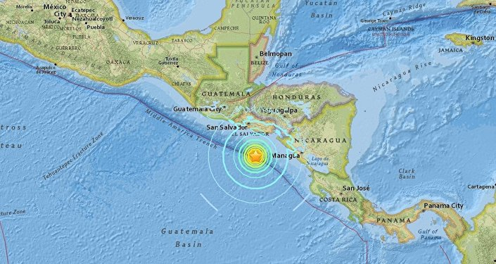 US Geological Survey reports of a 7.2 magnitude earthquake striking 153 kilometers off El Salvador coast. No damages have been reported