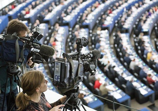 Journalists at work in the European Parliament in Strasbourg
