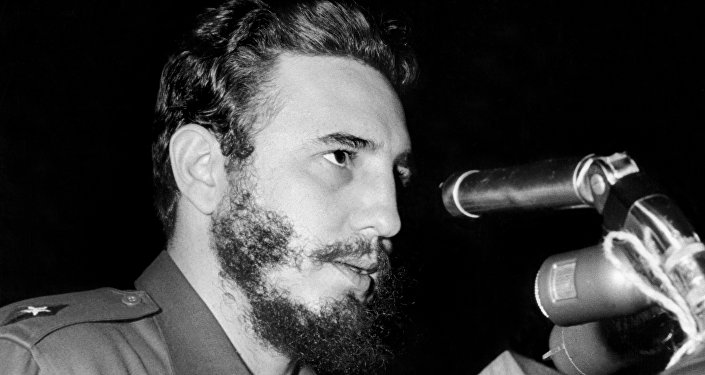 Cuban Prime Secretary of the Cuban Communist party and President of the State Council Fidel Castro addresses delegates of the General Assembly of the United Nations, 26 September 1960 in New York