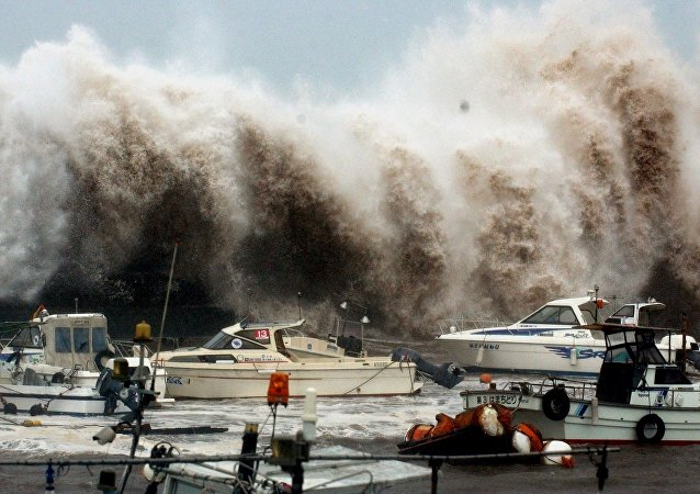 A house is washed out by a tidal wave caused by strong typhoon, Tokage (File)