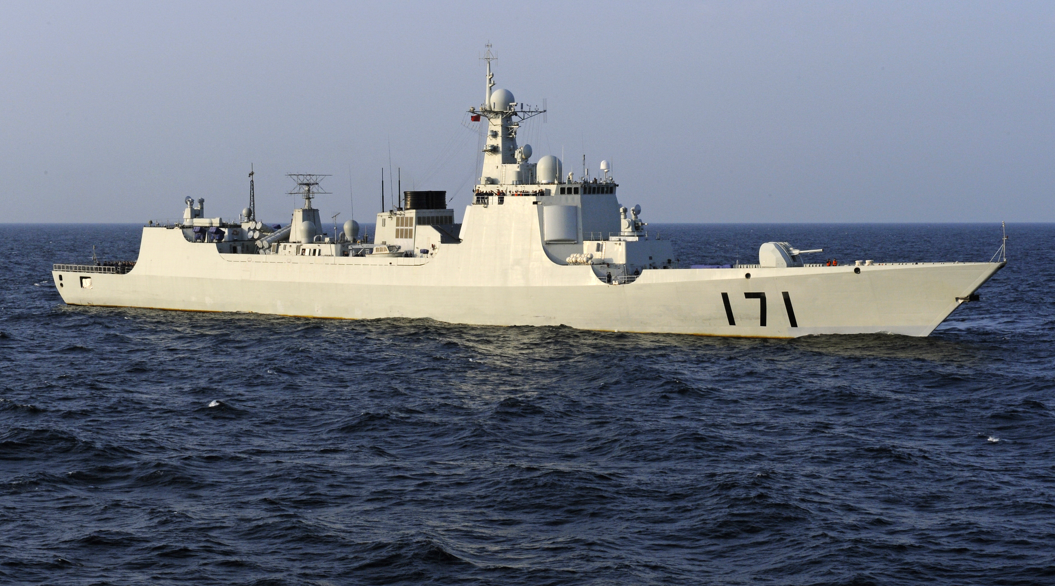 Chinese navy warship, the DDG-171 Haikou destroyer, patrols the waters of the Gulf of Aden (file photo)