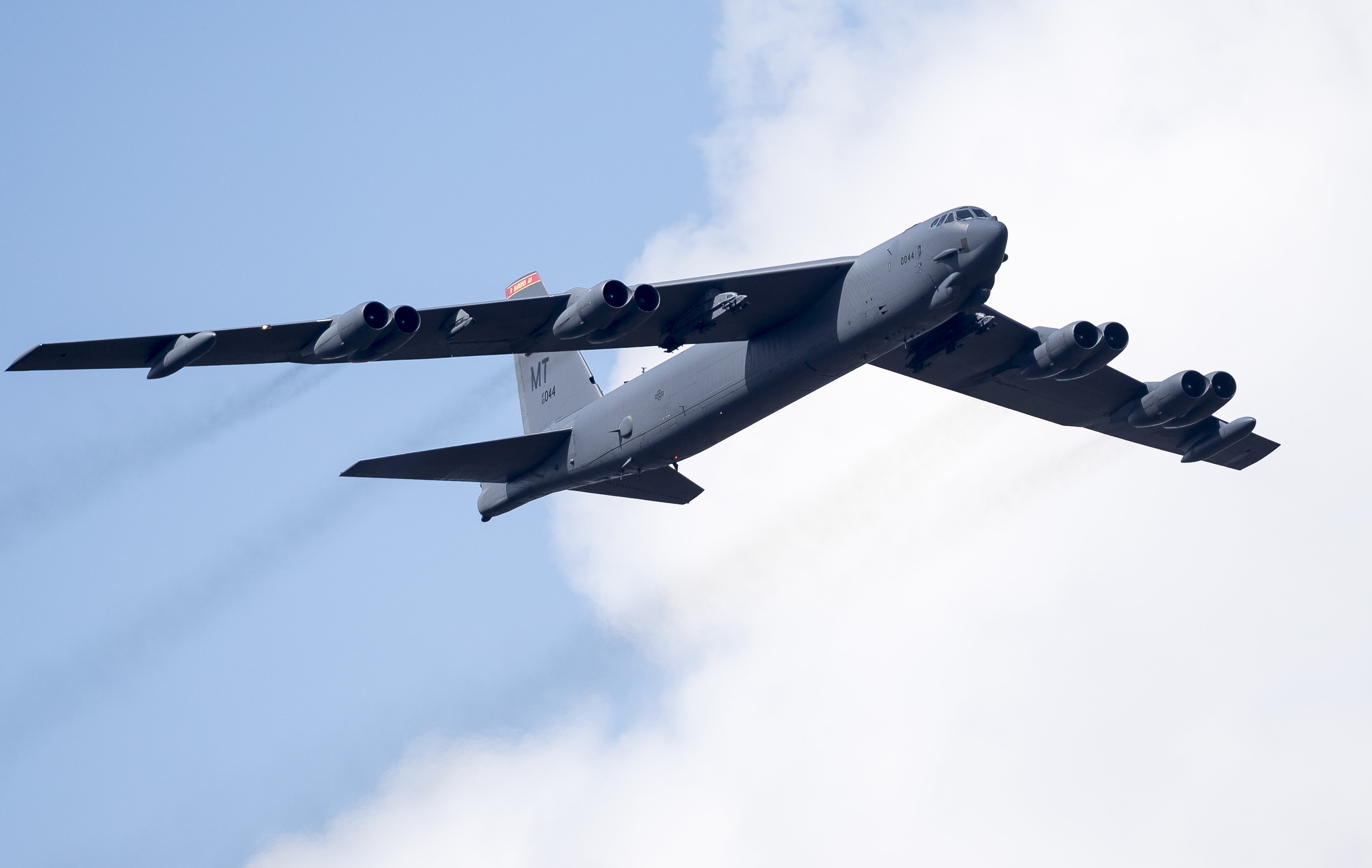 A U.S. Air Force B-52 bomber flies over Training Range in Pabrade during a military exercise 'Iron Wolf 2016' some 60km.(38 miles) north of the capital Vilnius, Lithuania, Thursday, June 16, 2016