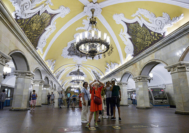 Tourists at Komsomolskaya station of the Moscow metro